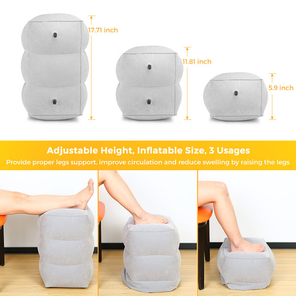 Travel Foot Rest Pillow Inflatable Adjustable Height Pillow for Foot Rest Airplanes Cars Office Kids Sleep Flight Pillow C18112301