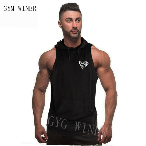 Tops Men Bodybuilding Cotton Tank top Gyms Fitness Hooded Vest Sleeveless Hoodie Casual Fashion Crossfit Workout Clothing