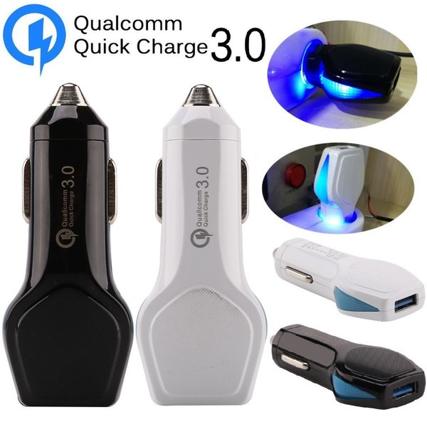 Быстрая зарядка QC 3,0 Автомобильное зарядное устройство 5V 2.4A 9V 2A 12V 1.6A свет водить автомобиля Зарядные гнезда для HTC Samsung s8 s10 планшетный ПК GPS с розничной коробке