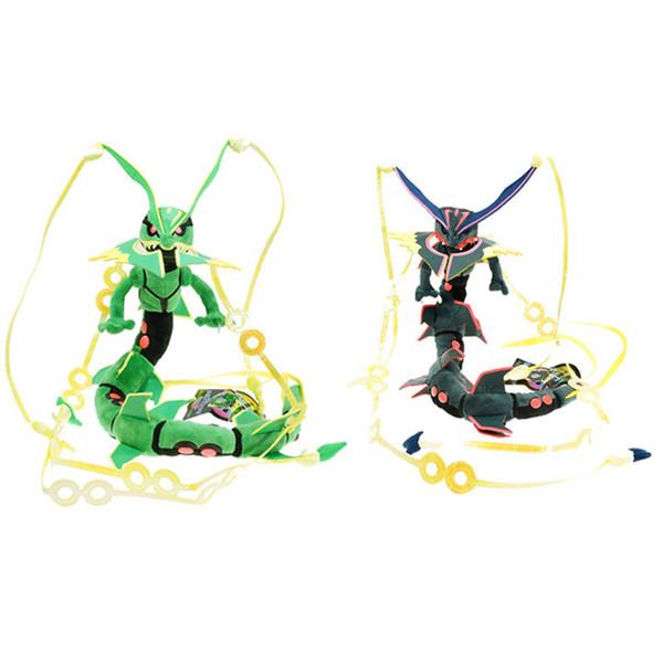 Sıcak Cep Hayvanlar Karikatür peluş XY Mega Rayquaza Oyuncak 80 cm Omega Yakut Rayquaza Ejderha Peluş Oyuncaklar Yumuşak Dolması Oyuncaklar Bebek Hediyeler C