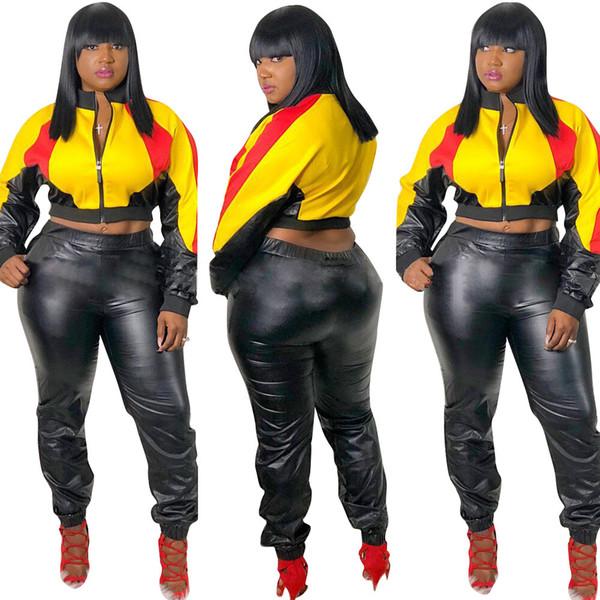 Compre Moda PU Empalmado Casual Conjunto De 2 Piezas Chándal 2019 Mujeres Cremallera Frontal Manga Completa Abrigos Cortos Y Pantalones Negros Body