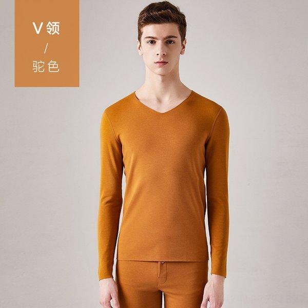 homens # 039; s cor V-pescoço-camelo