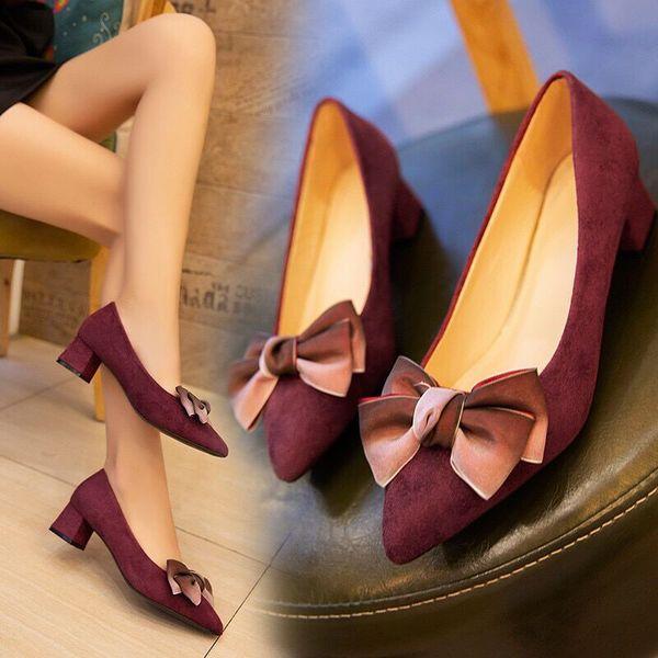 Dress Shoes Pumps Women Square Medium Heels Flock Dress Pointed Toe Sweet Butterfly-knot Lady Career Wedding Bride