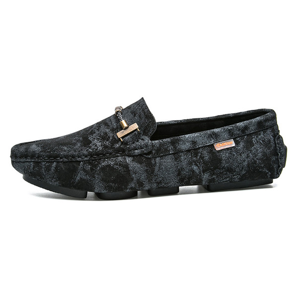 2019 Genuine Leather Men Shoes Luxury Loafers Italian Camouflage Mens Shoes Casual Black Slip On Moccasins Flats