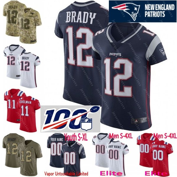 separation shoes a7ba1 d9c05 2019 100th Anniversary Super Bowl Custom Men Youth Women New Tom Brady Rob  Gronkowski Julian Edelman Tedy Bruschi Patriots Camo Elite Jersey 01 From  ...