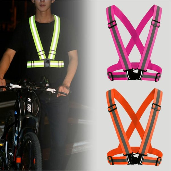 top popular Adjustable Visibility Reflection LED Bike Vest Safety Reflective Vest Gear Stripes Jacket Night Running Cycling Night Jacket 2020