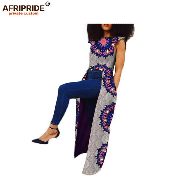2019 африканская одежда для женщин AFRIPRIDE частные обычай без рукавов длинная задняя часть пальто до щиколотки чистый воск хлопок плюс размер A722411