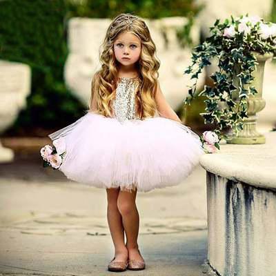 3 renkler Yenidoğan Bebek Parti Elbiseler Kızlar için 1st Yıl Doğum Günü Tutu Elbise Sequins Vaftiz Elbise Toddler Kız Çocuklar Küçük Elbise Vestido