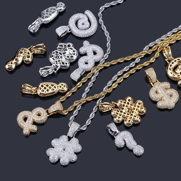 Gold Finish Iced Out Custom Bubble Question Mark Dollar Sign Pendants & Necklaces Charm Cubic Zircon Men Women Hip Hop Jewelry
