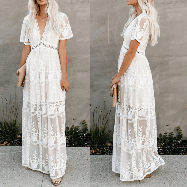 best selling Women elegant lace embroidery dress short sleeve sexy v-neck hollow out summer maxi white party dress spring long casual prom evening dress