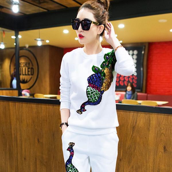 Womens Casual Sports Suit Sweater Zweiteiliger Druck Reißverschluss Cardigan Jacket + Casual Hosenanzug Womens Slim Gestrickte langärmelige Sportbekleidung