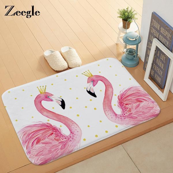 Zeegle Flamingo Printed Door Mat Floor Carpet for Living Room Hallway Bathroom Entrance Door Mats Absorpt Bedroom Kitchen Rugs