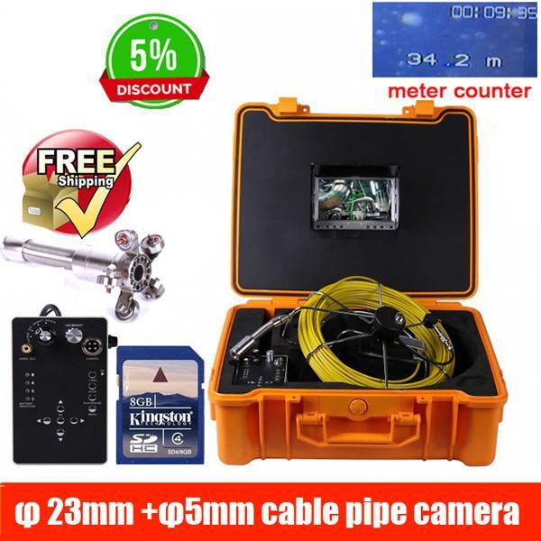 Sistema de la cámara de la inspección de la alcantarilla de la pared del tubo de los 50m DVR, cable video industrial de la cámara 5m m de la inspección 23mm del coche del tubo