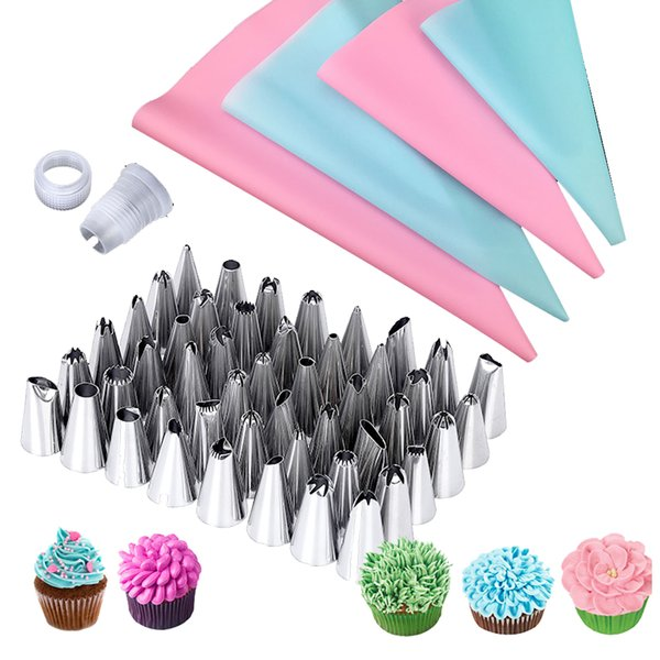 57Pcs/Set 4Size Pastry Bag 48Pastry Nozzles 5Converter Nozzles for Confectionery Bag for Cream Piping Tips Spuitzak Cake Decoration