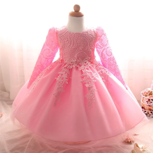Fancy Baby Girl Dress Infant Lace Crochet Christening Gowns 1 Year Birthday Dress For Toddler Girl Party Dress Vestido Infantil Y19061001
