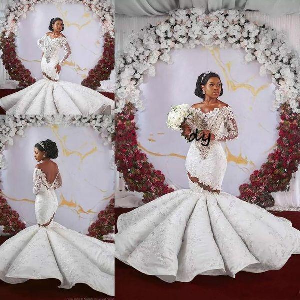 6470c8cc60e65b5 2019 Красивые длинные рукава Русалка Свадебные платья с плеча Иллюзия  спинки Кристалл Плюс Размер Африканские роскошные