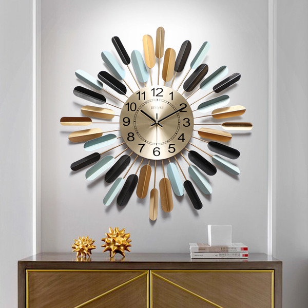 Horloge murale horloge salon moderne minimaliste home art électronique décoration murale créatif américain lumière luxe cha