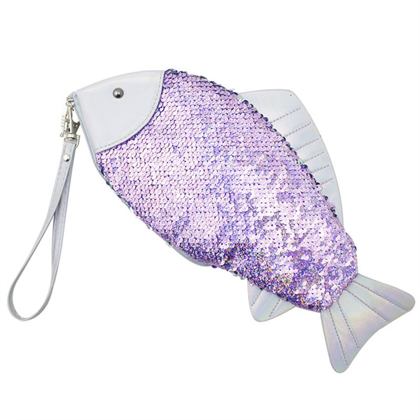 Women Fish-Shaped Sequin Clutch Bag Girl Sequin Coin Purse Pen Pencil Bags Mermaid Glitter Handbag Wallet Purse RRA467