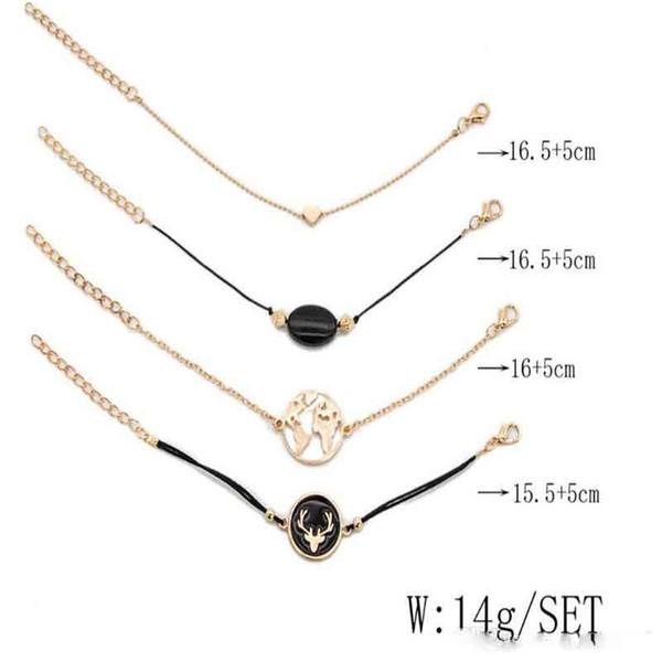Nouveau Bohème 4pcs / set Bracelet Ensembles Pour Femmes Filles Carte Classique Fleur Coeur Multicouche Réglable Bracelet Ouvert Plusieurs Styles