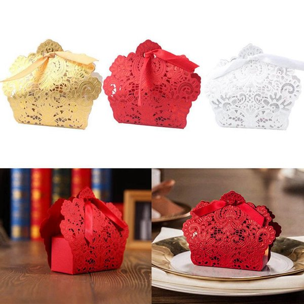 50 pezzi avorio / rosso / bianco / oro / blu vuoti caramelle bomboniere scatole scatole bomboniere francesi confezione regalo pacchetti bomboniere festa di compleanno