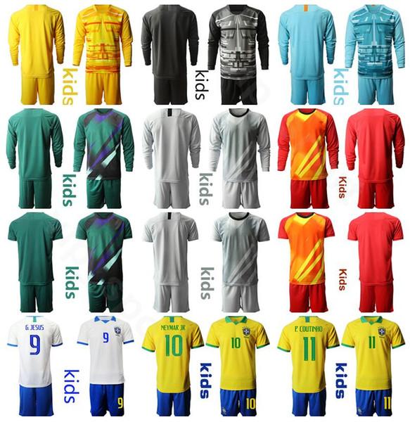 Jóvenes Portero GK hijos Brasil camiseta de fútbol Conjunto de portero de manga larga Niños 1 ALISSON 23 Kits camisa EDERSON 1 CAFU 16 CASSIO.- Fútbol