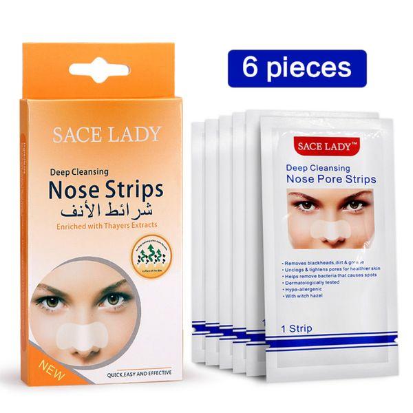 SACE LADY Blackhead Remover Mask 6 pcs Nasal Strips Black Head Nose Dot Spot Peel Off Sticker Face Acne Whitehead Pore Cleaner