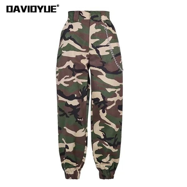 2019 Мода Цепи Военные Камуфляжные брюки женские Армия черный высокая талия свободные брюки Camo Брюки Street Jogger спортивные штаны T190601