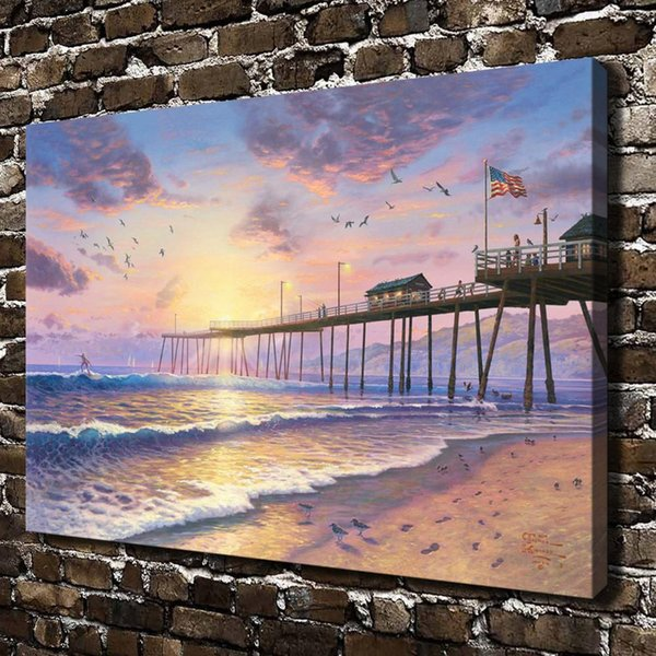 Footprints In The Sand,Home Decor HD Printed Modern Art Painting on Canvas (Unframed/Framed)