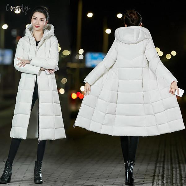 Inoltre 6XL inverno delle donne cappotto incappucciato caldo rivestimento sottile Vintage cotone imbottito di base lunga femminile Media Outwear Casaco Feminina Nuovo