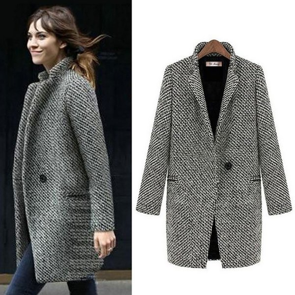 Fenghua Fashion Long Woolen Women Coat Female Plus Size Winter Plaid Jacket 2018 Wool Blend Cape Coat Tweed Outwear 5XL 6XL 7XL