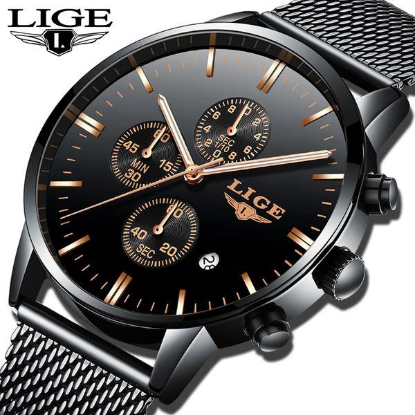 LIGE Mens Watches Top Brand Luxury Quartz Waterproof Watch Men Stainless Steel Fashion Business Wristwatch Relogio Masculino+Box