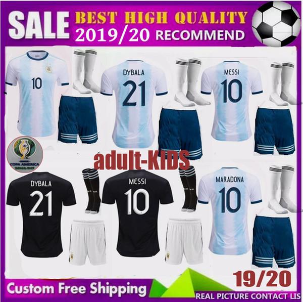 2275a15fbcb Copa America 2019 men kids Argentina soccer jersey 2020 adult child KITS 19  20 MESSI DYBALA MARADONA AGUERO DI MARIA HIGUAIN football shirts