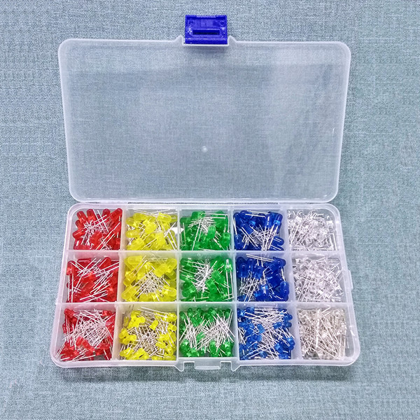best selling 500PC Lot 3MM 5MM Led Kit With Box Mixed Color Red Green Yellow Blue White Light Emitting Diode Assortment 50PCS Each New