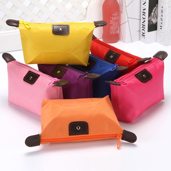 versione coreana di gnocchi carino borsa trucco colori pastello gnocchi pieghevoli borsa Yuanbao digitare lavaggio collezione impermeabile