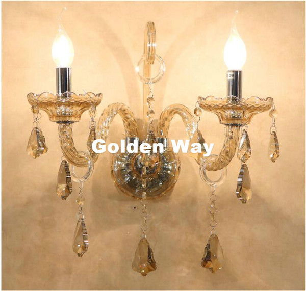2pcs LED Modern Crystal Wall Lamp Sconce Bulb Bedroom
