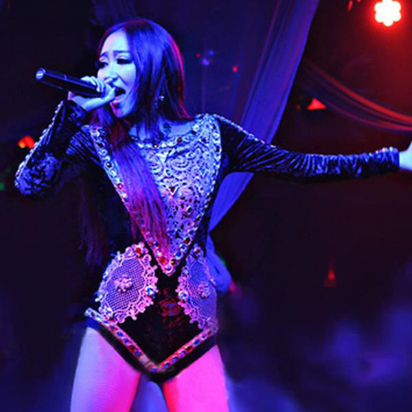 Trajes de palco para cantores preto strass macacão boate gogo ds ds mulheres sexy pólo de dança stage desempenho desgaste dn2561