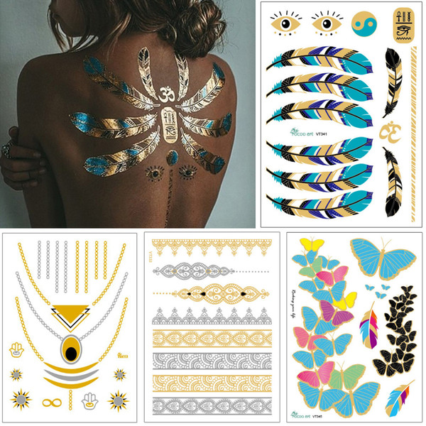 Flash Jewelry Tattoo Gold Silver Necklace Bracelet Body Art Design Feather Heart Henna Flower Arrow Decal Woman DIY Temporary Tattoo Sticker