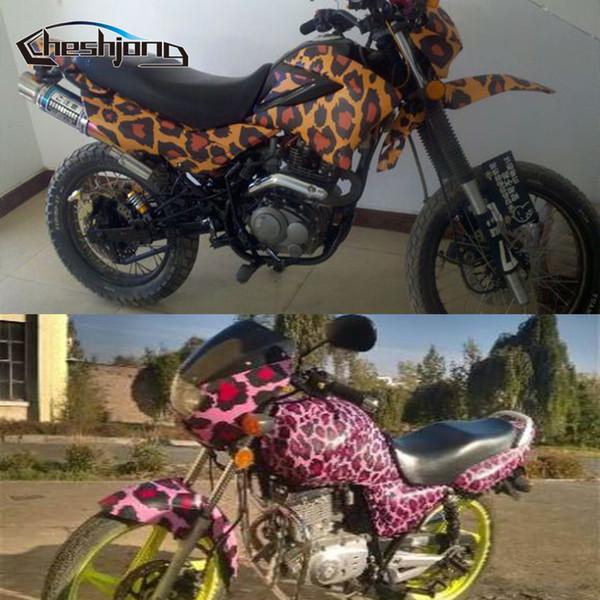 Leopard Design Grain Vinyl Film Auto Dach Motorrad Roller Aufkleber Tierhaut Grafik Aufkleber Bomb Wrap mit Luftblase frei