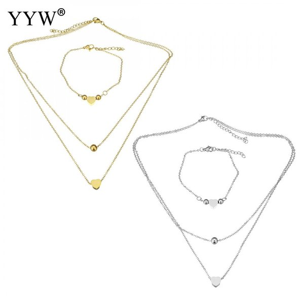 Fashion Stainless Steel Jewelry Sets Bracelet & Necklace Chain Heart Silver/Gold Color Oval Chain For Woman Wedding Jewelry Gift