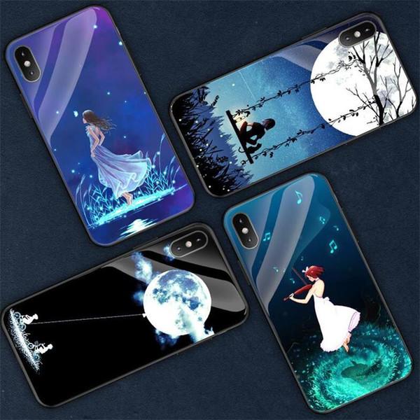 Leuchtender Telefon-Kasten-ausgeglichenes Glas-Kasten für Iphone X XR XS maximales 6 7 8 plus Nachtlicht-Kasten Freies Verschiffen