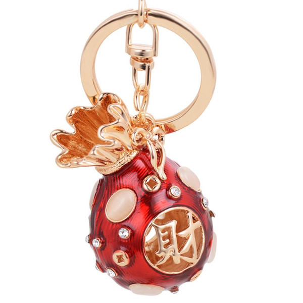 Lucky Blessing Bag Rhinestone Keychain Key Rings Pendant Hanging Ornament Gifts