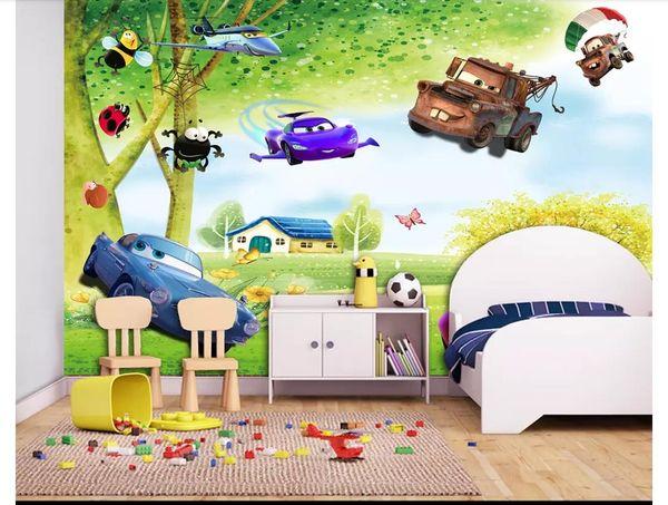 Пользовательские 3D шелк фото фреска обои большое дерево пейзаж свежий детская комната мультфильм фон фреска стикер стены Papel де parede