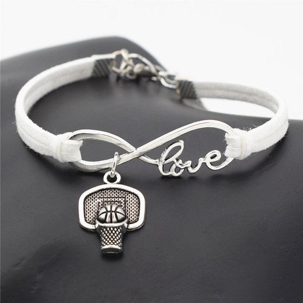 New Bijoux Men Punk Vintage Infinity Love Shoot Basketball Hoop Rim Sports White Leather Suede Charm Bracelet Bangles for Women Jewelry Gift