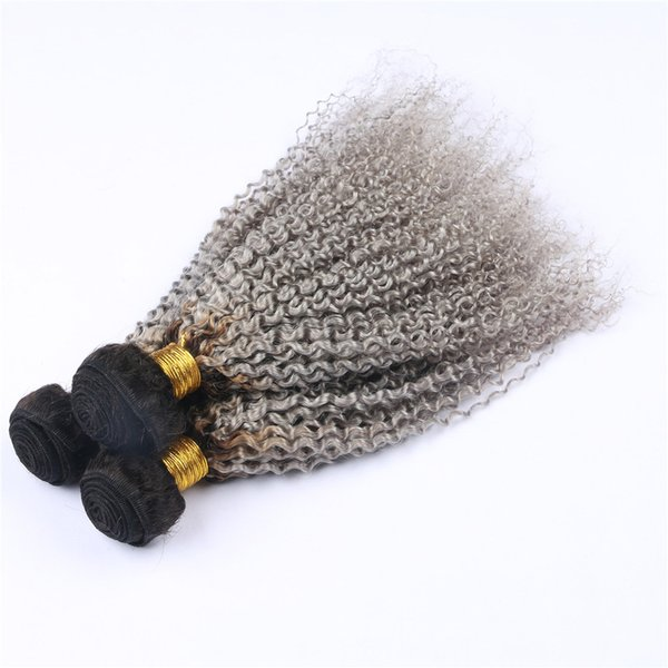 Ombre Серые вьющиеся пучки человеческих волос 2 тона 1B Серые бразильские волосы Kinkys Вьющиеся волосы Weave Weave 3Pcs / Lot