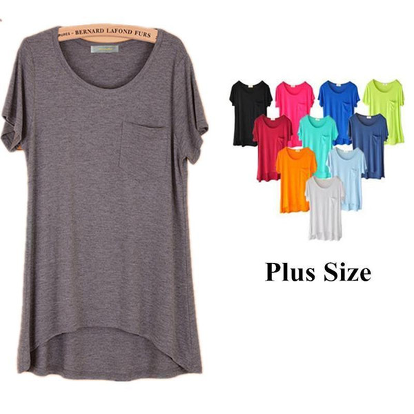 Wholesale Nice Summer Women Casual Solid fortable Cotton Women Shirts Women Tops T Shirt Plus Size T Shirts S 4XL 7XL Black White Pink T Shirt