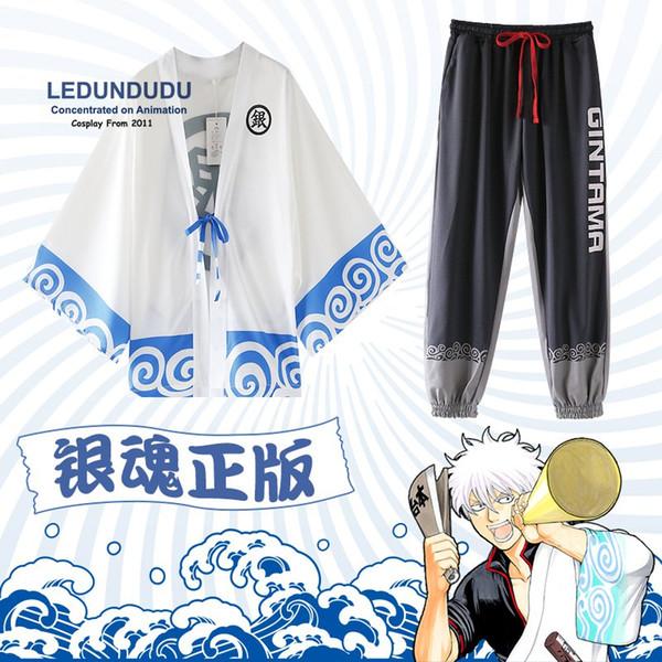 косплей аниме Gintama наряды Саката Гинтоки халаты Мужские плащи Косплей костюмы пижамы Экипировка + штаны для Хэллоуина