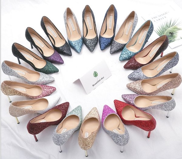 Best quality fashion party shoe with 12 colors Sequined heel shoes Pointed toes Gradient color heels for wedding size 33-41 drop shipping