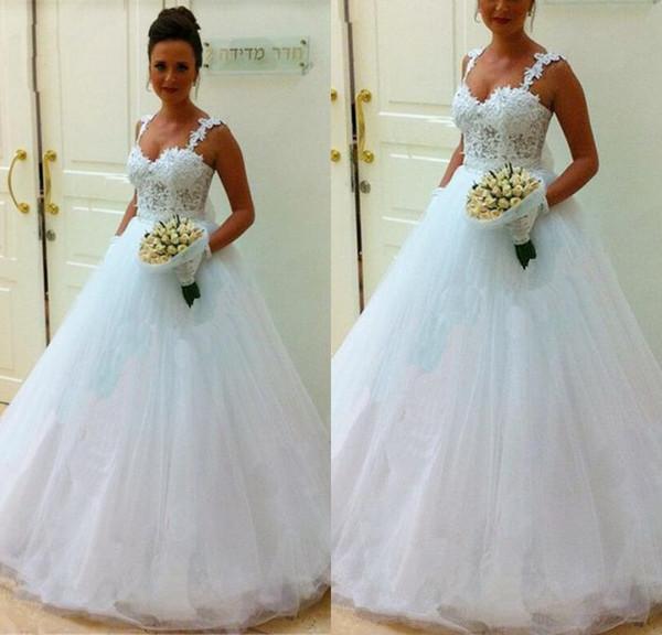 Elegante Modest A Line Correas espaguetis Vestidos de novia blancos Longitud del piso Encaje de tul Vestidos de novia de novia baratos Lace Up Robe de Marié