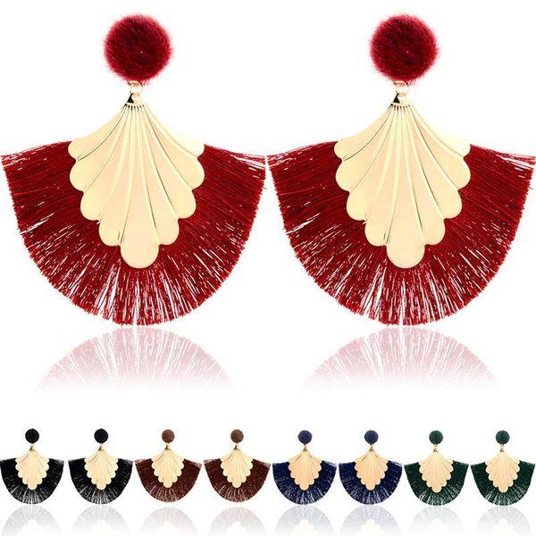 European and American exaggerated multilayer fan-shaped drop ball earrings Bohemian style multi-colored tassel earrings