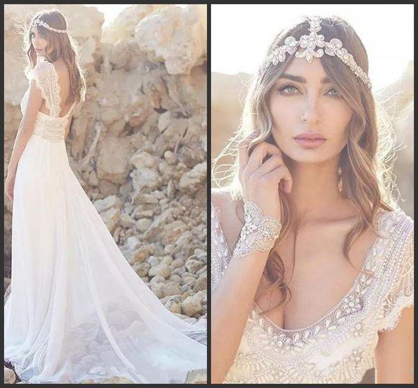 2019 New Romantic Lace Beach Wedding Dresses V Neck Flowing Chiffon Bead Backless Wedding Gowns Crystal Cheap Bridal Dress Custom